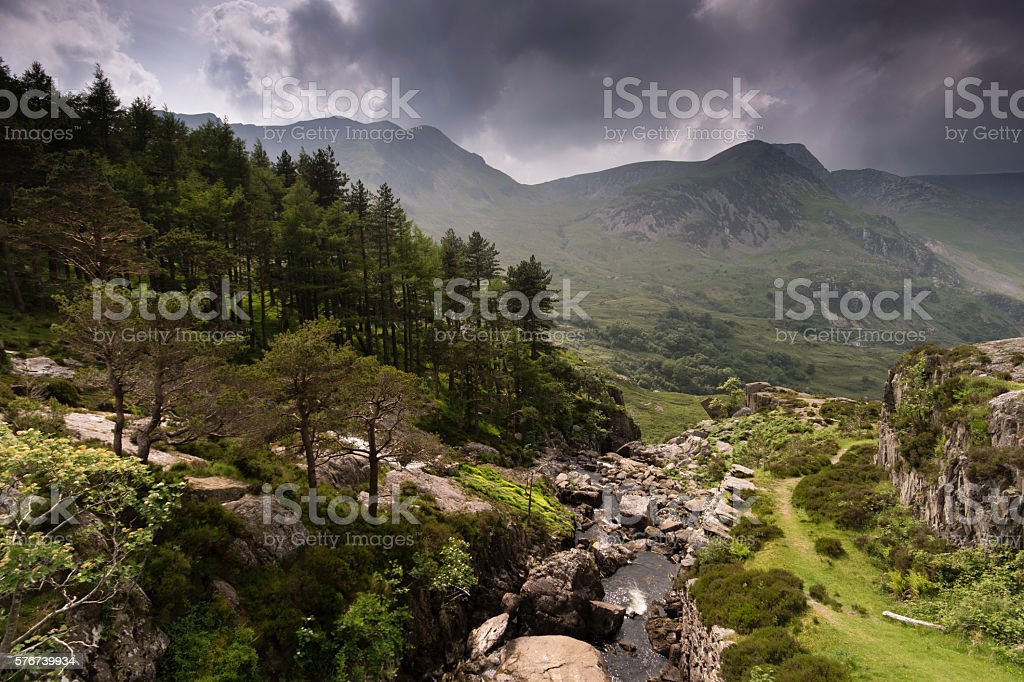 Ogwen Valley waterfall looking west stock photo