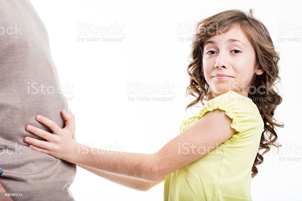 oh daddy what a big belly! stock photo