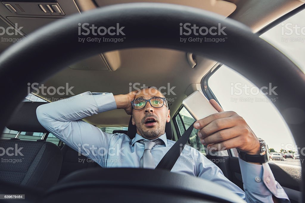 Oh my God, I am going to crash! stock photo