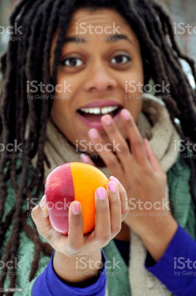 Oh My Gosh, It's an Apple-Orange! stock photo