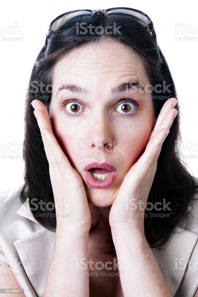 Oh no! Portrait of shocked woman stock photo