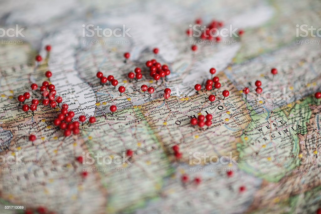 Ohio area of United States (USA) pins in map stock photo