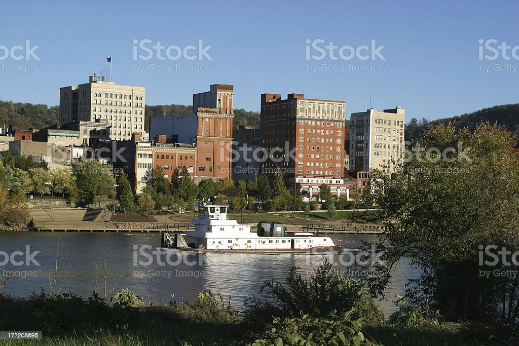Ohio River Tug Boat, Wheeling, West Virginia stock photo