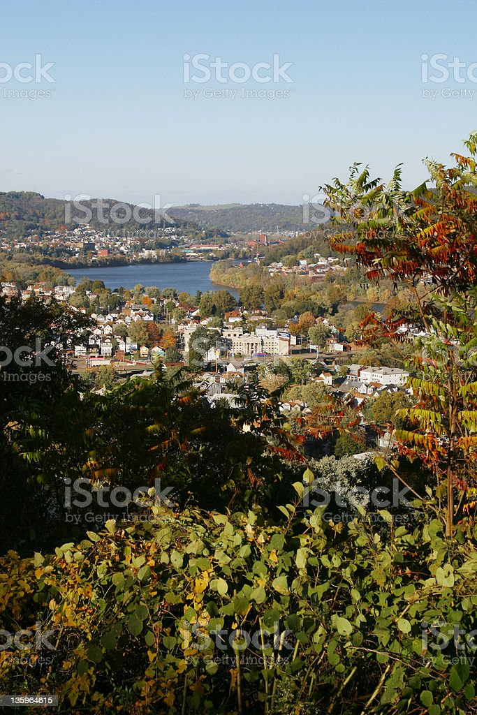 Ohio River Valley View, Wheeling, West Virgina. stock photo