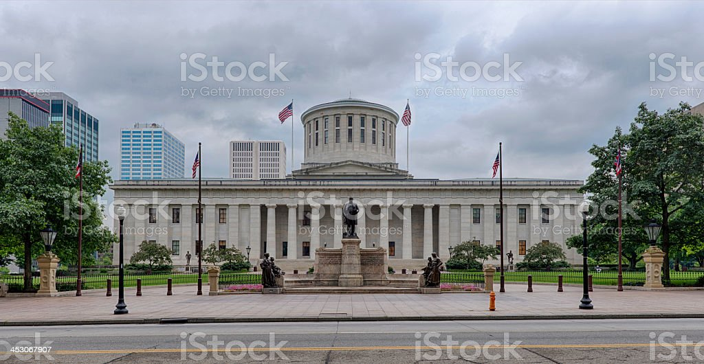 Ohio state building under grey cloudy sky stock photo