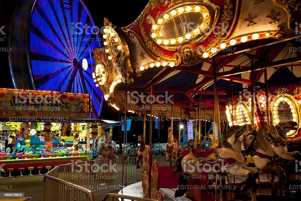Ohio State Fair at night stock photo