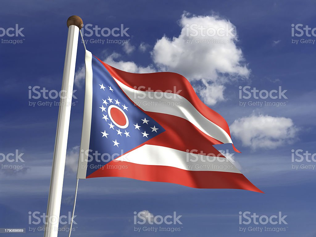 Ohio State flag (with clipping path) stock photo