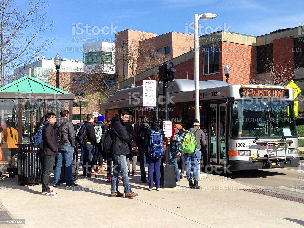 Ohio State University Bus stop stock photo