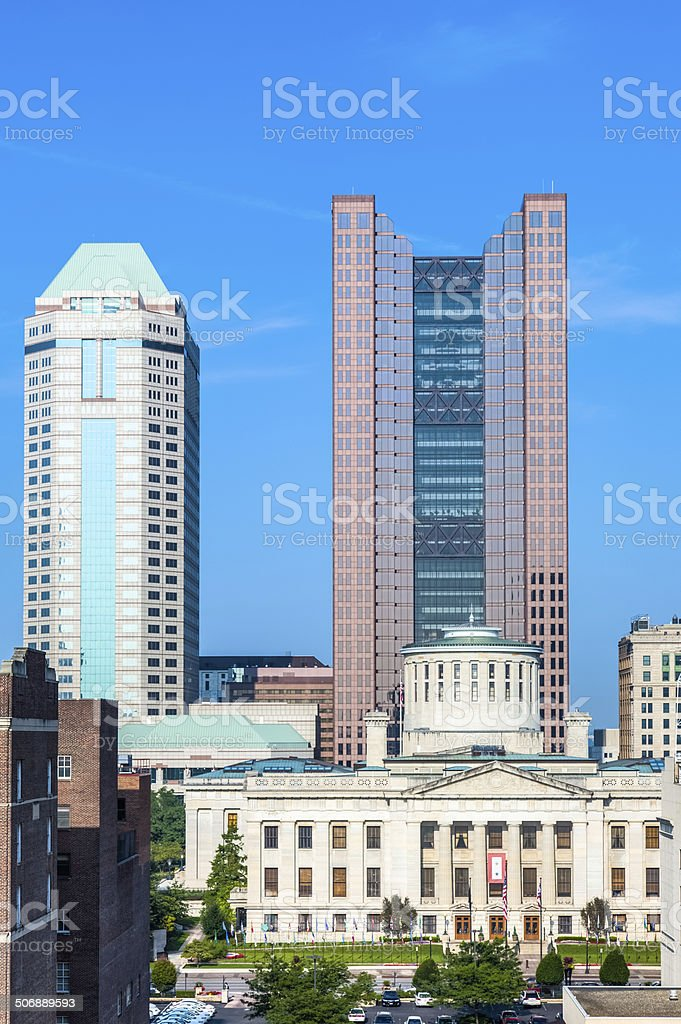 Ohio Statehouse Amid Skyscrapers in Downtown Columbus, Ohio stock photo