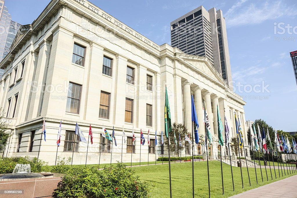 Ohio Statehouse Lawn Adorned With Ohio's County Flags stock photo