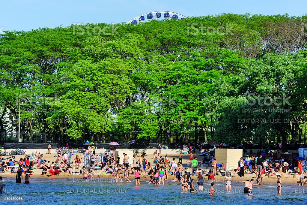 Ohio Street Beach on sunny day, Chicago stock photo