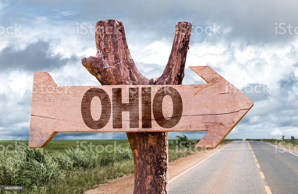 Ohio wooden sign with agriculture landscape on background stock photo