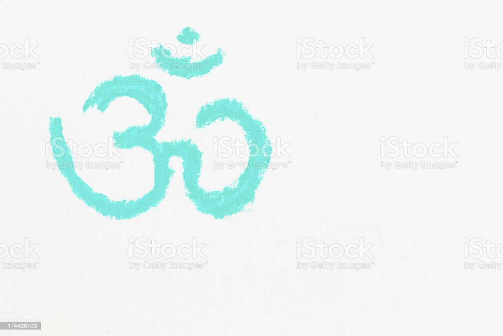Ohm symbol sketched in tuquoise pastel chalk on white stock photo