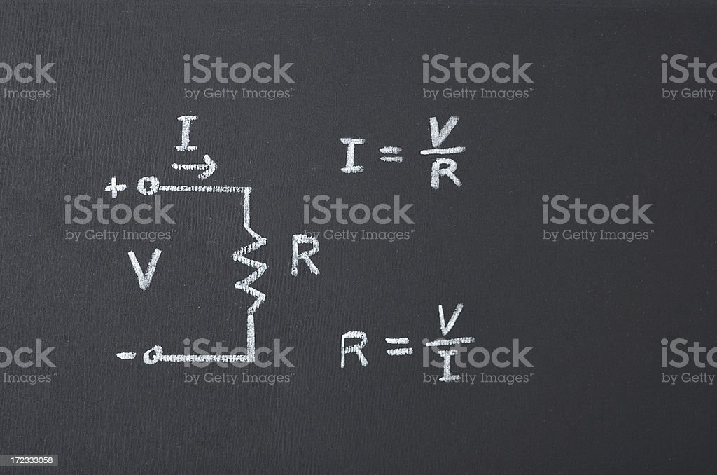 Ohm's law with diagram and formula on chalkboard stock photo