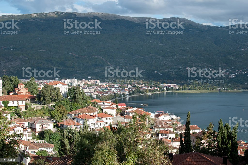 Ohrid from above stock photo