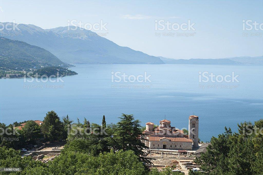 Ohrid Lake And Sveti Kliment Church, Republic Of Macedonia stock photo