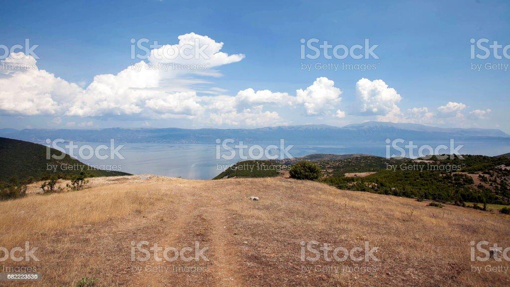 Ohrid lake in Albania stock photo
