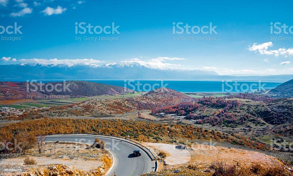 Ohrid Lake view from Albania stock photo