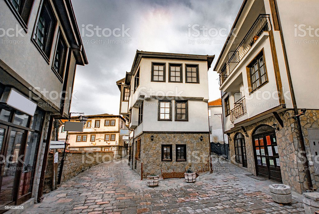 Ohrid streets with Ottoman Houses stock photo