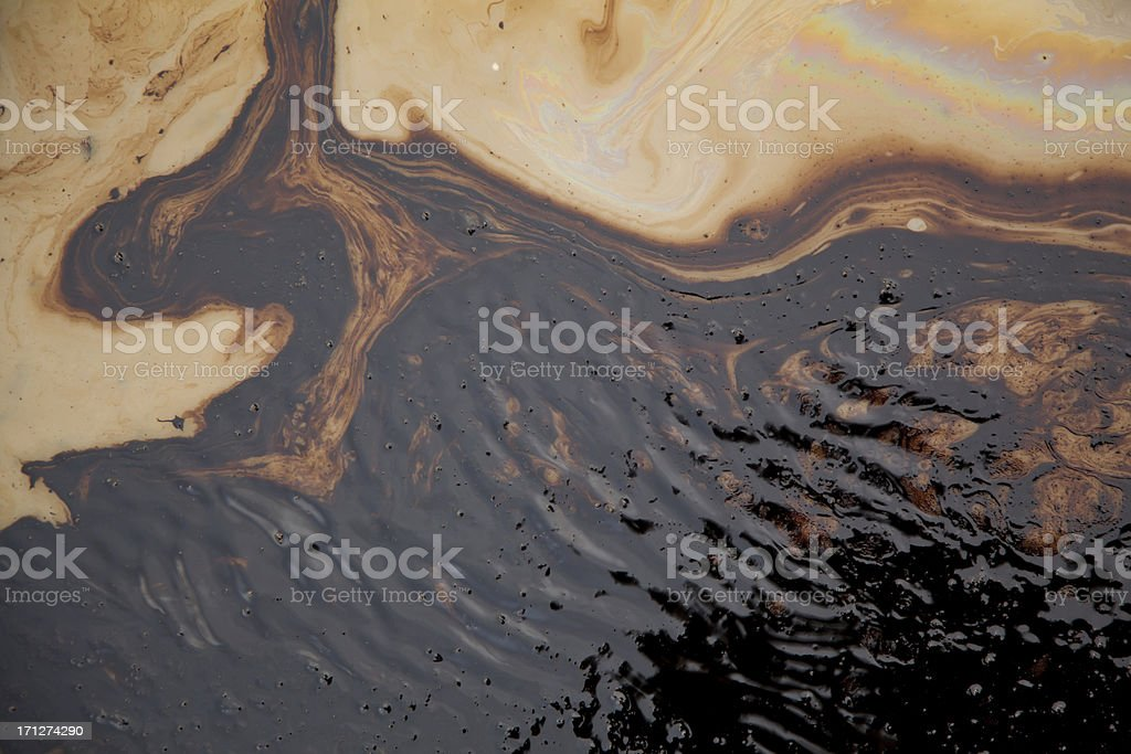 Oi polution near drilling rig stock photo