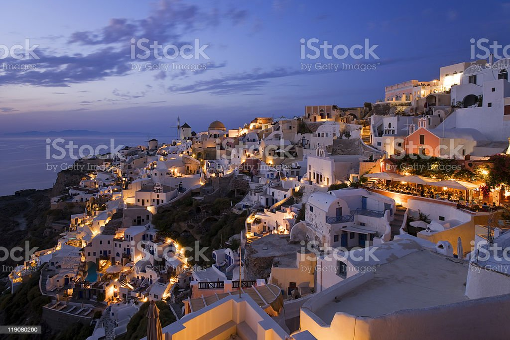 Oia after Sunset stock photo