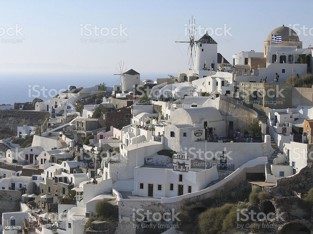 Oia and the famous windmills stock photo