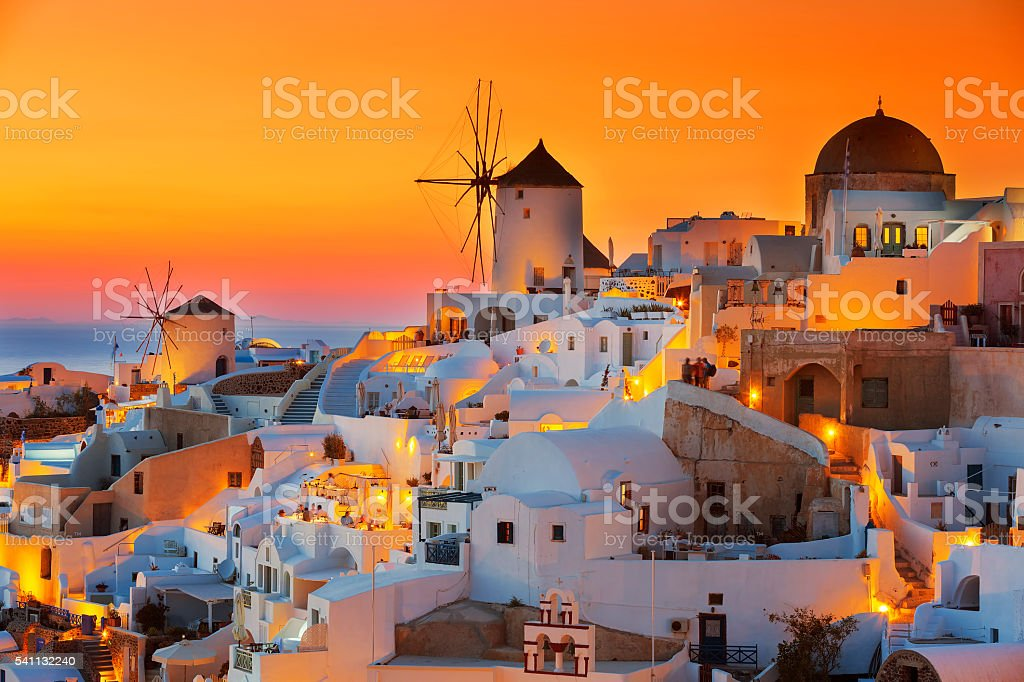 Oia at sunset stock photo