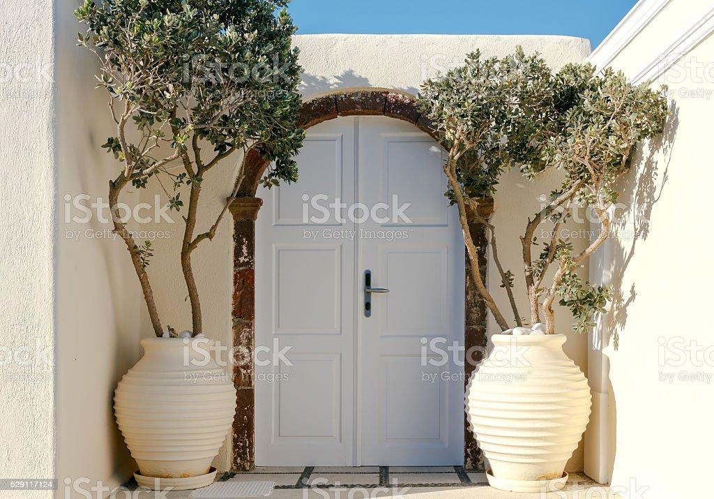 Oia. Beautiful door to the house stock photo