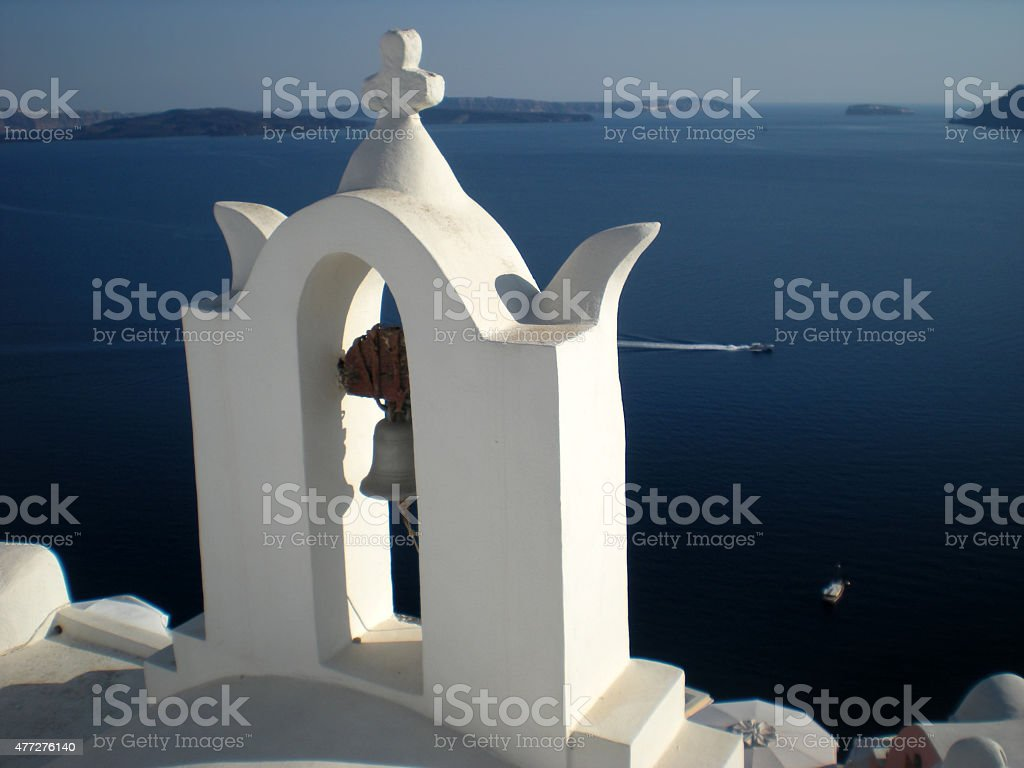 Oia church bell tower stock photo