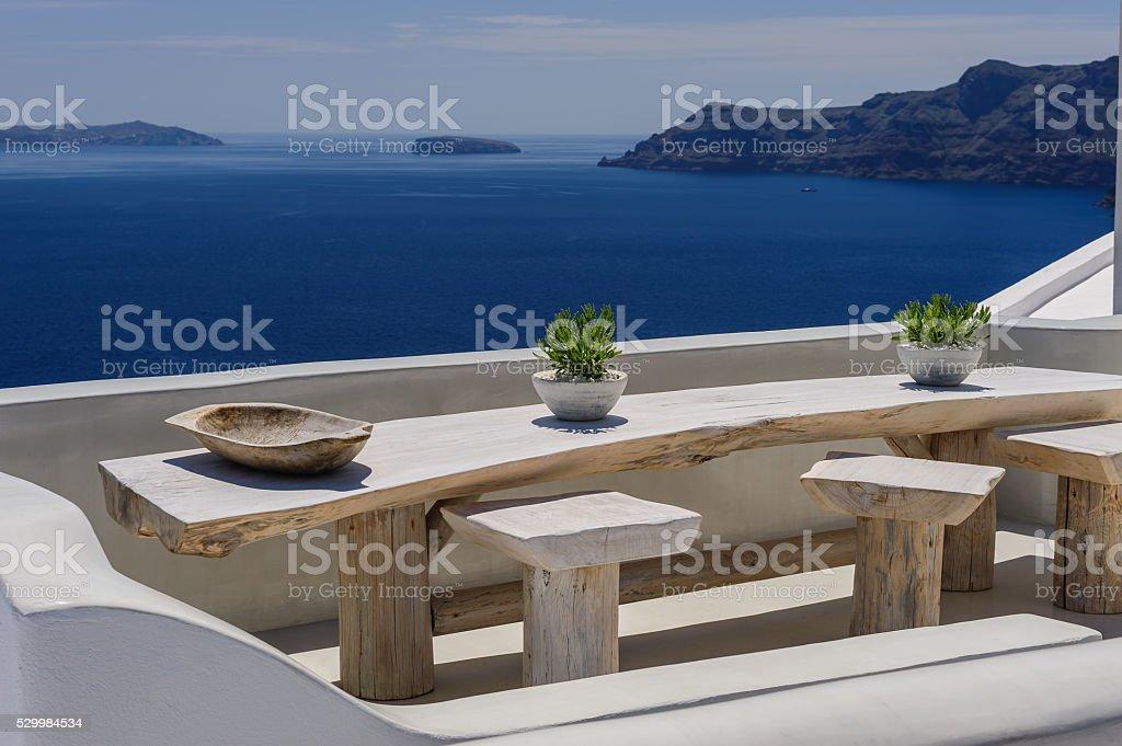 Oia luxury decks and patios stock photo