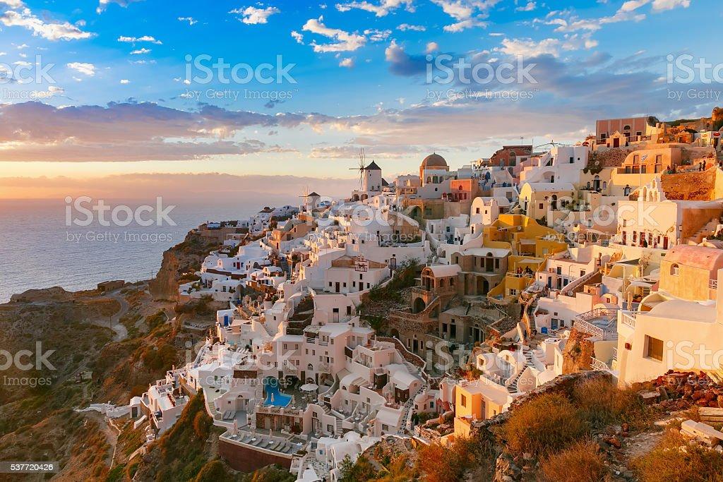 Oia or Ia at sunset, Santorini, Greece stock photo
