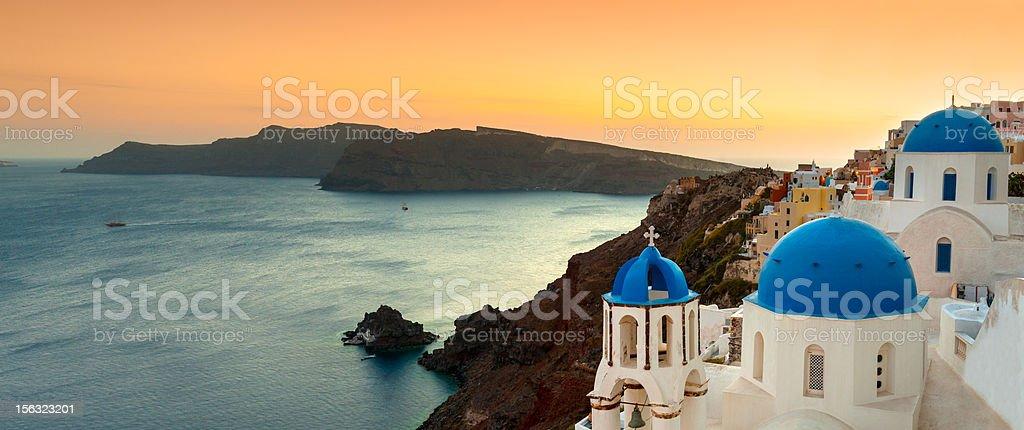 Oia Panoramic Sunset, Santorini, Greece stock photo