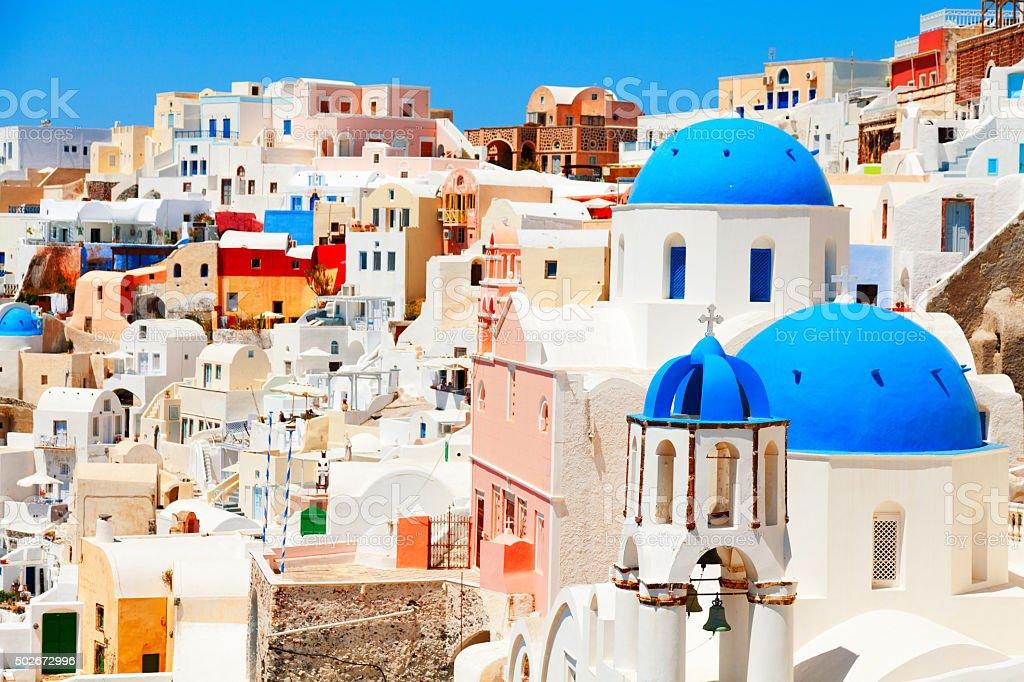 Oia, Santorini at daylight stock photo