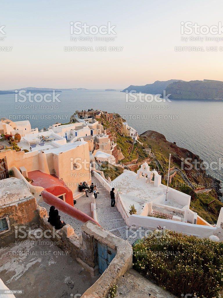 Oia Sunset Point Santorini Island Greece stock photo