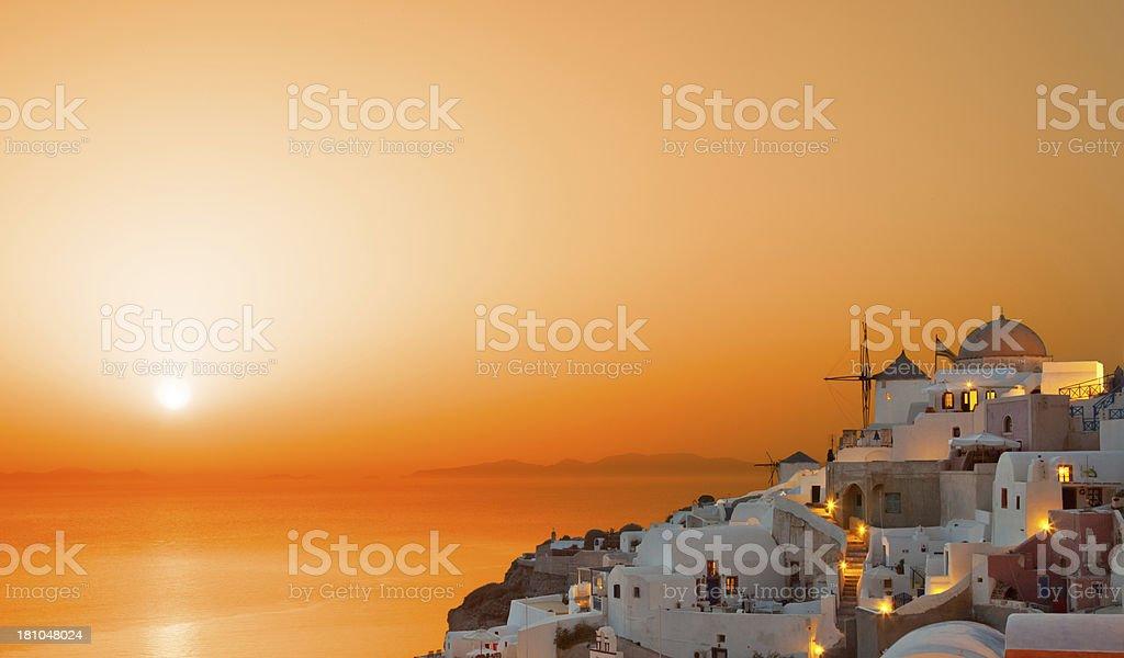 Oia village at sunset royalty-free stock photo