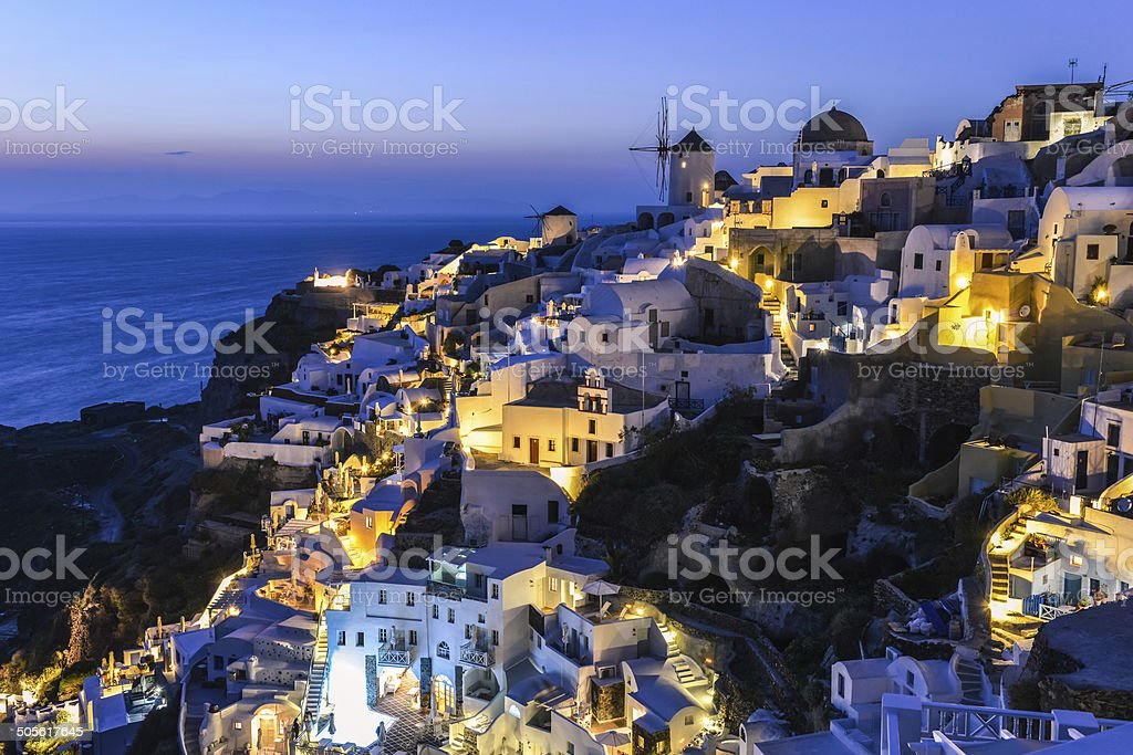 Oia village in Santorini in the evening, Greece royalty-free stock photo