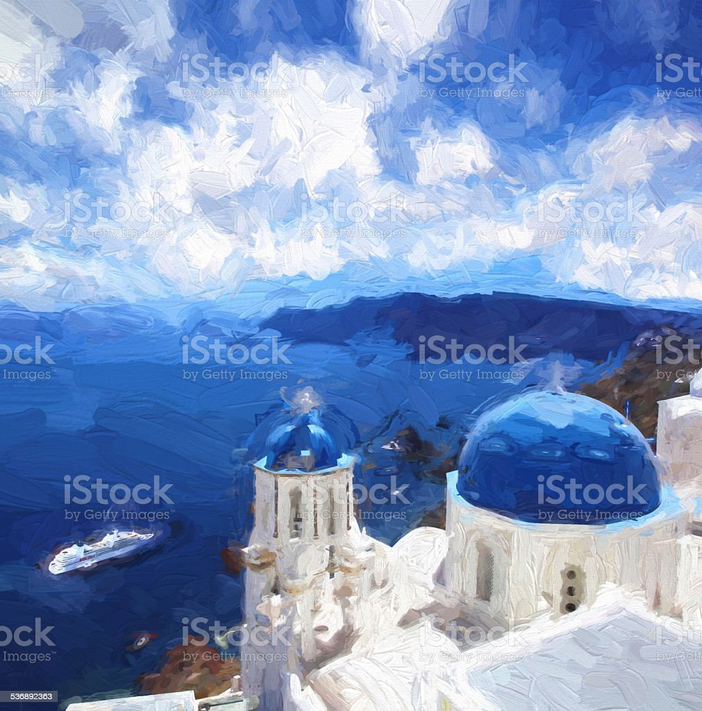 Oia village in Santorini island, Greece, Oil painting, ART STYLE stock photo