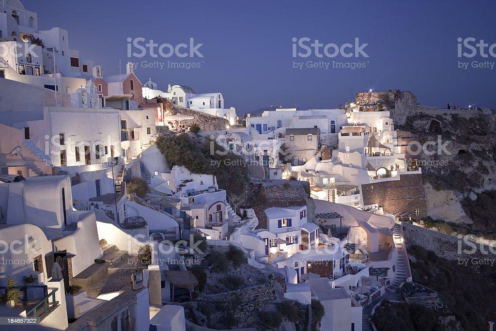 Oia village on Santorini island at night royalty-free stock photo