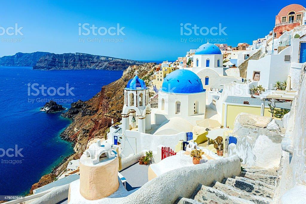 Oia (Ia) village on Santorini island, Greece stock photo