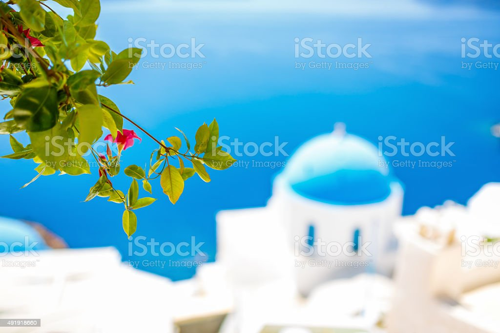 Oia (Ia) village on Santorini island, Greece stock photo
