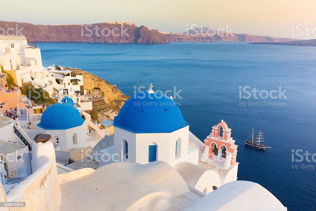 Oia village on Santorini island, Greece. stock photo