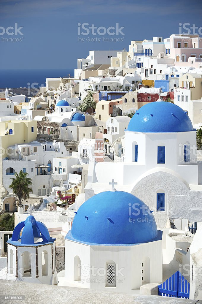 Oia Village Santorini Blue Greek Orthodox Church Domes royalty-free stock photo