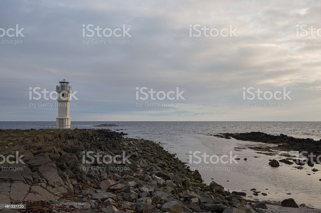 OId lighthouse in Akranes stock photo