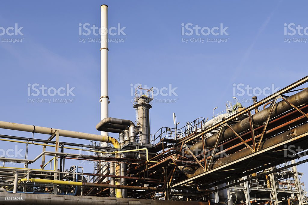 oil and chemical refinery in Rotterdam royalty-free stock photo