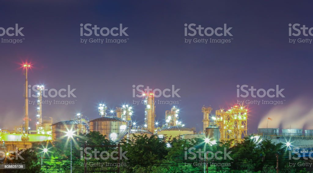 Landscape view of color lighting from structure process area of oil...