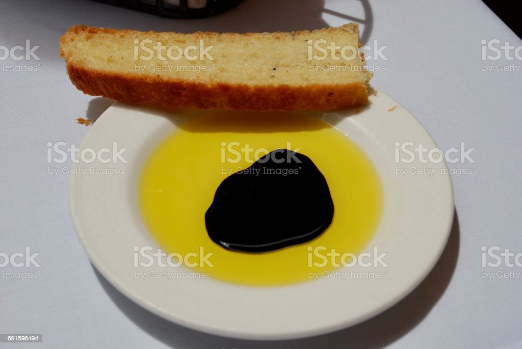 Oil and focaccia, Napa Valley stock photo