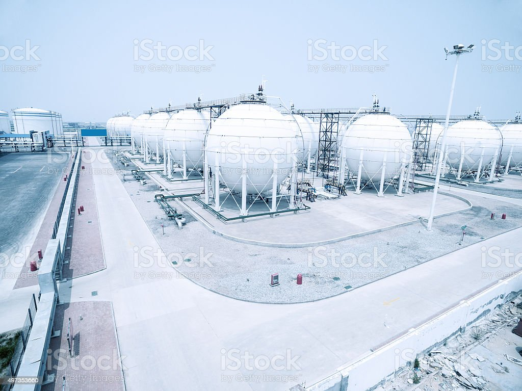 oil and fuel tanks in oil depot stock photo