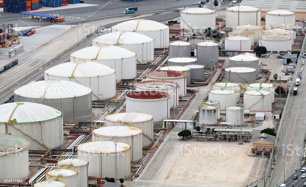 Oil and gad storage tank in refinery stock photo