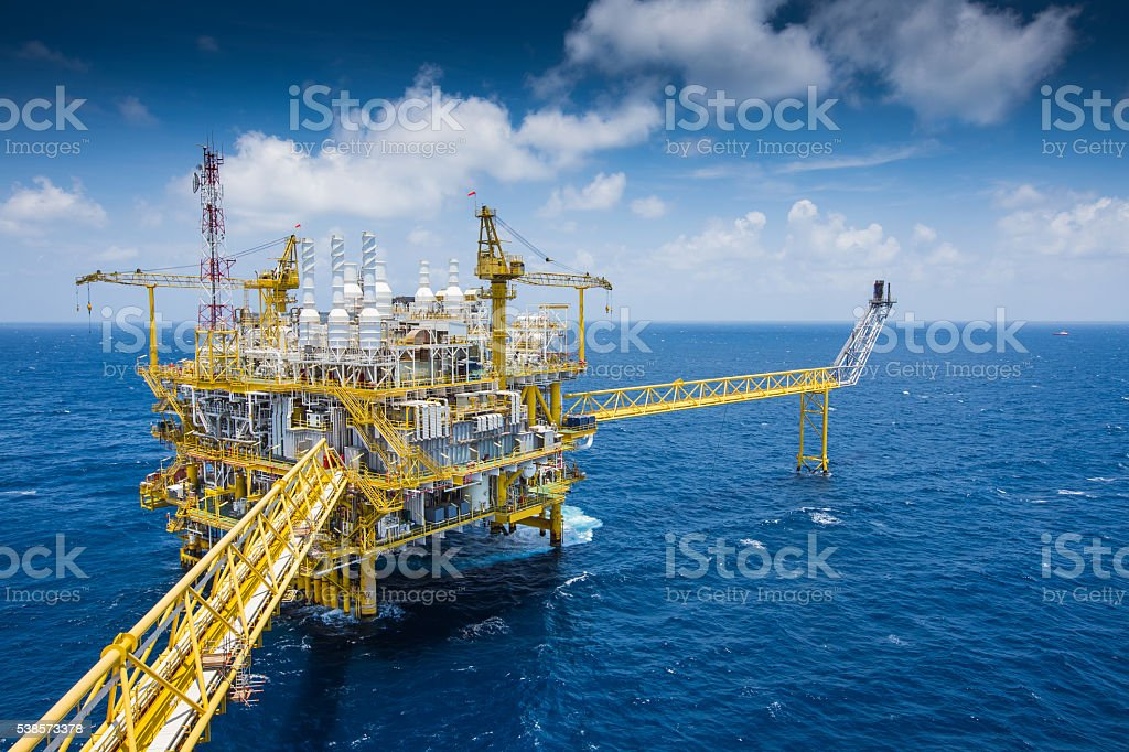 Oil and Gas central processing platform. stock photo