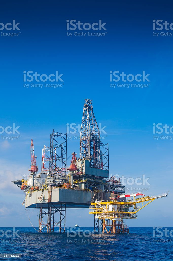 Oil and gas drilling rigt completion on oil and gasplatform stock photo